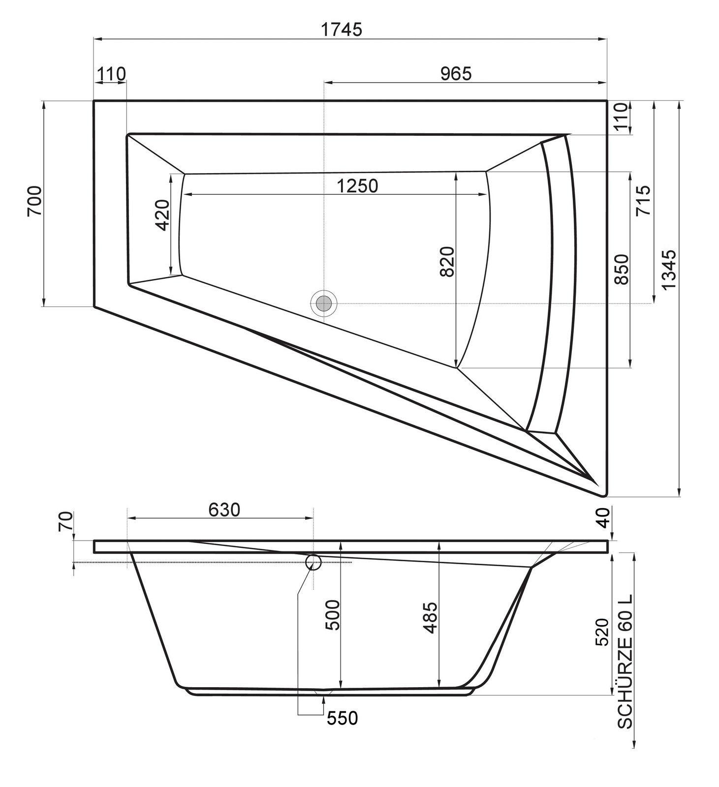 raumspar badewanne stella 175 x 135 70 x 52 cm rechts. Black Bedroom Furniture Sets. Home Design Ideas