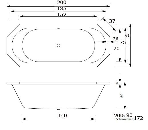 badewanne paola 8eck 170 x 80 180 x 80 190 x 80 190 x. Black Bedroom Furniture Sets. Home Design Ideas