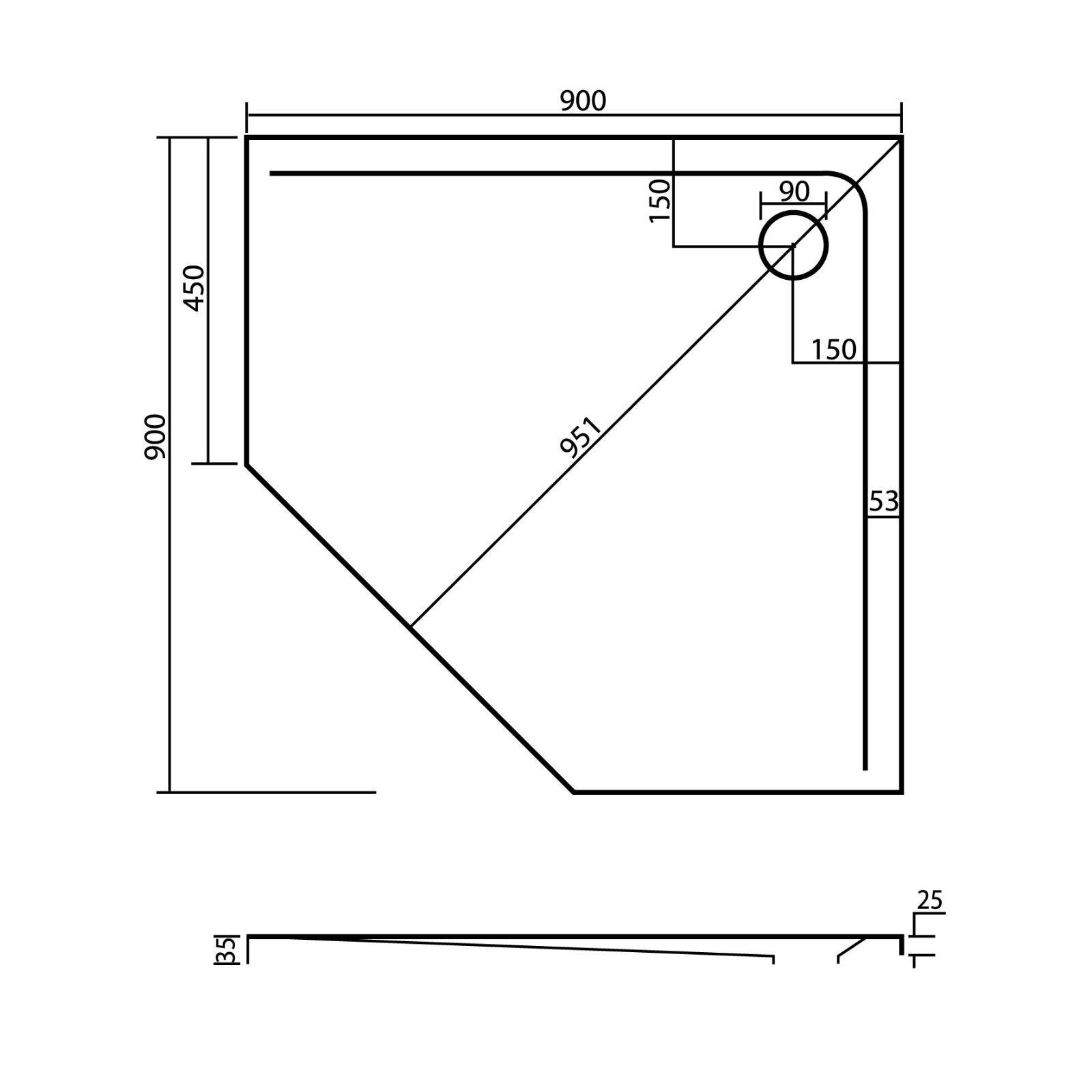 duschwanne 5 eck 90 x 90 100 x 100 x 2 5 cliff galatea. Black Bedroom Furniture Sets. Home Design Ideas