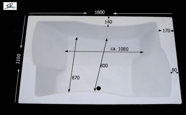 Badewanne 2 personen maße  Whirlpool Delux 2 Personen Badewanne Duet 180 x 110 x 50 cm deutsche ...