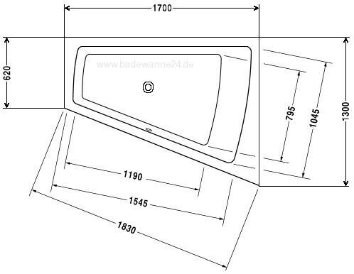 duravit badewanne paiova 180x140 170x130 r oder l 700215. Black Bedroom Furniture Sets. Home Design Ideas