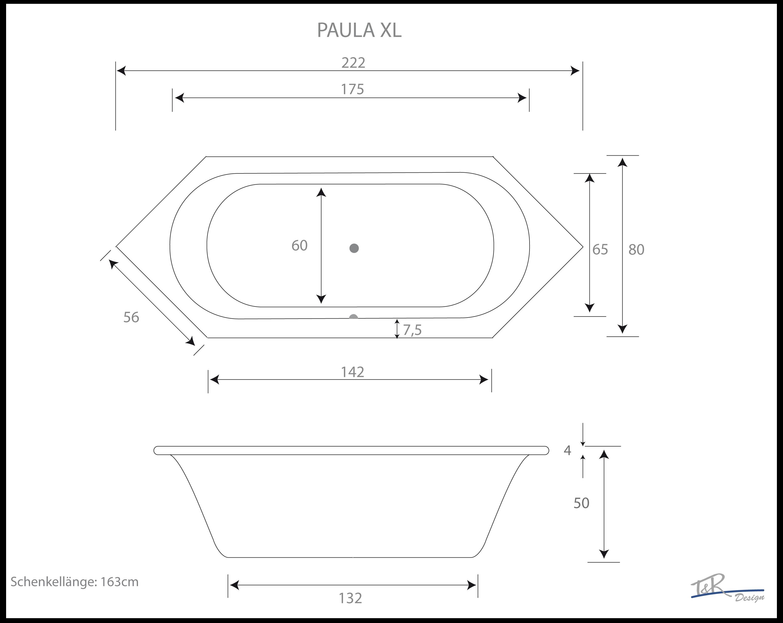 6-Eck Badewanne Paula 4 zur Auswahl: 200 x 80, 213 x 80, 222 x 80 ...
