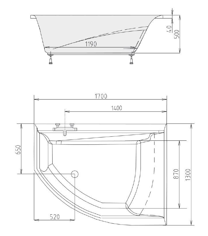 raumspar badewanne tandem 170 x 130 x 50 cm sofort lieferbar ebay. Black Bedroom Furniture Sets. Home Design Ideas